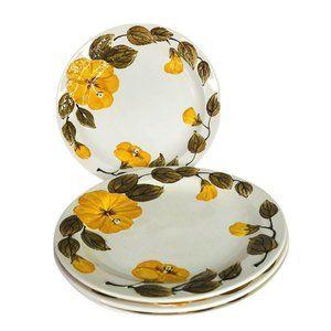 4 Island Worcester Luncheon Plates Yellow Hibiscus